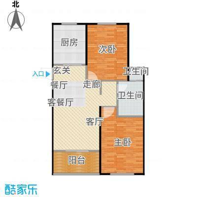 兴盛铭仕城96.84㎡11、12、19、21#C户型三室两厅一卫:96.84平米户型2室2厅1卫