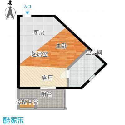 蓝海国际公寓55.47㎡一室一厅一卫55.47平米户型1室1厅1卫