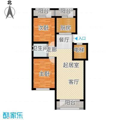 伸马托斯卡纳86.64㎡F户型 两室两厅一卫 使用面积55.43平方米户型2室2厅1卫