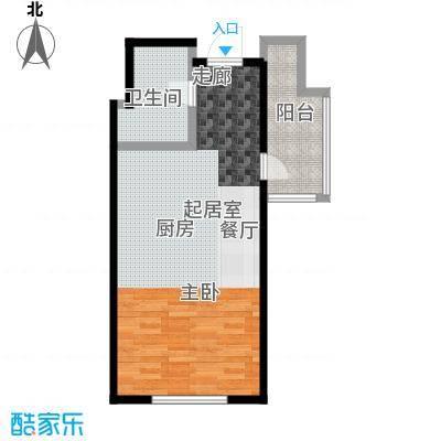 蓝海国际公寓48.77㎡一室一厅一卫 48.77平米户型1室1厅1卫