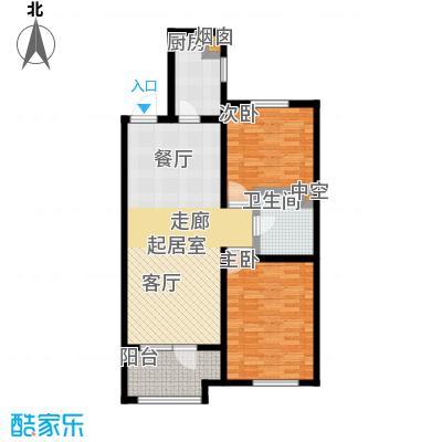 铂悦山89.00㎡D2户型区间89-91平户型2室2厅1卫