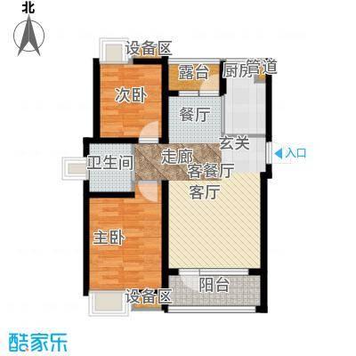 三盛颐景蓝湾86.00㎡两室两厅一卫户型2室2厅1卫