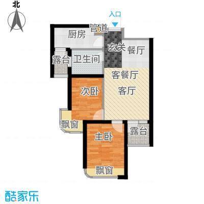 三盛颐景蓝湾79.00㎡两室两厅一卫户型2室2厅1卫