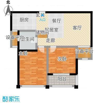 水岸豪庭东苑94.00㎡舒适两房户型2室1厅1卫