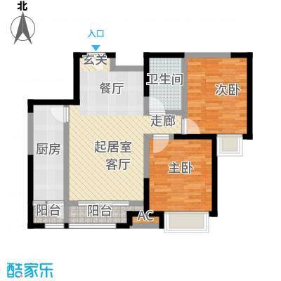 瞰海尚府79.00㎡一室一厅一卫户型2室2厅1卫