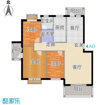 天籁华都120.00㎡120平米户型3室2厅1卫
