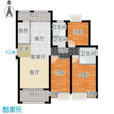 扬州国际公馆128.00㎡二期蓝山C2户型――风荷里户型3室2厅2卫