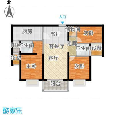 扬州国际公馆117.00㎡二期蓝山B2户型――晨曦岛户型3室2厅2卫