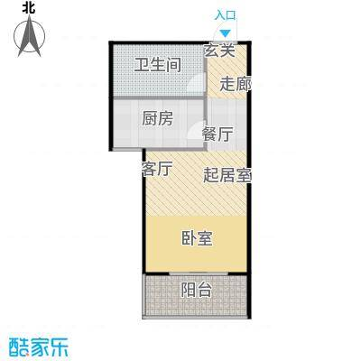 国海公寓50.00㎡A-2户型一室一厅一卫户型1室1厅1卫