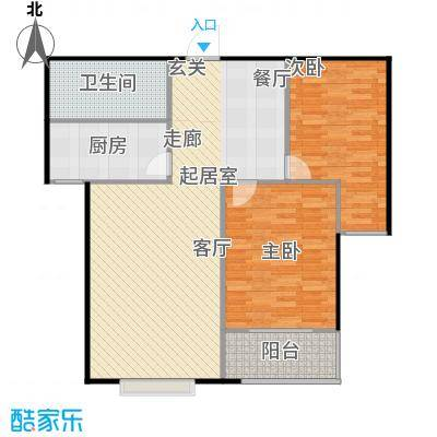 国海公寓103.90㎡B户型两室两厅一卫户型2室2厅1卫