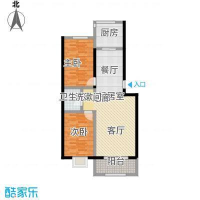 金坤新城花苑D户型-二房二厅一卫-89.60平方米户型2室2厅1卫