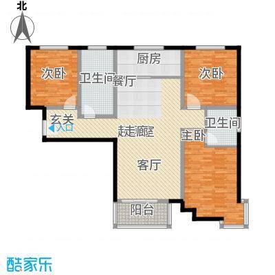 上林风景137.53㎡B1户型三室两厅两卫户型3室2厅2卫