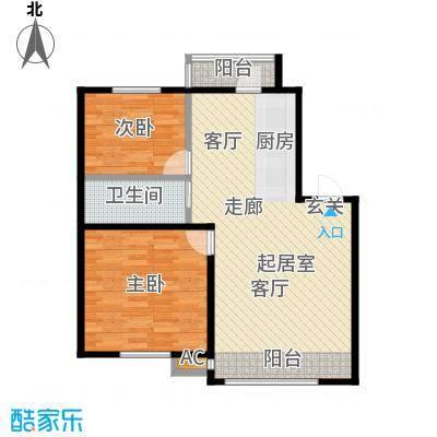 大树花园79.00㎡Q1户型2室2厅1卫CC