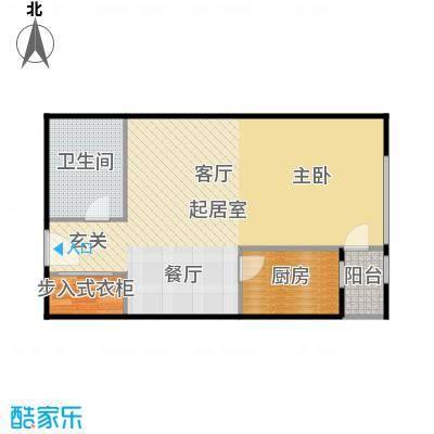 地铁新都汇67.58㎡B户型 一室一厅一卫户型1室1厅1卫