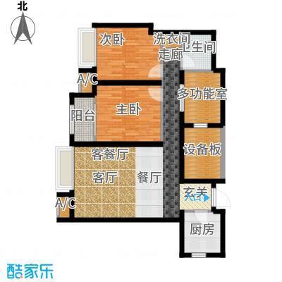 曦城花语93.53㎡高层3E户型3室2厅1卫X