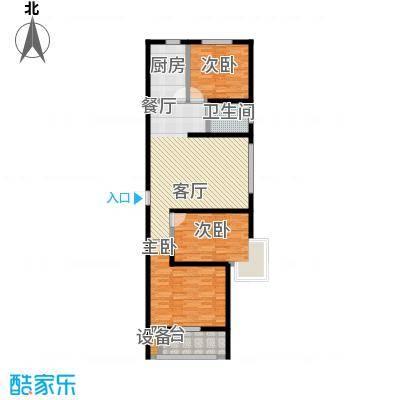 悦水澜庭99.62㎡E户型三室两厅一卫户型3室2厅1卫