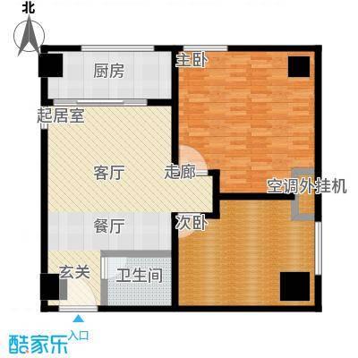 华夏世纪广场户型2室1卫1厨