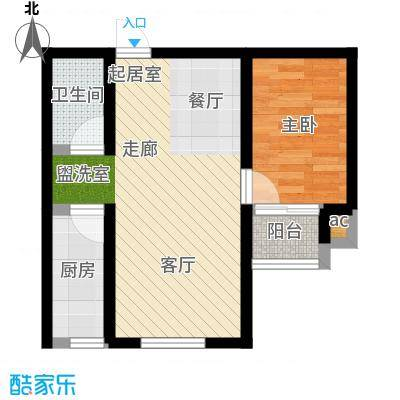 景城时代63.53㎡GE户型 一室二厅一卫户型1室2厅1卫