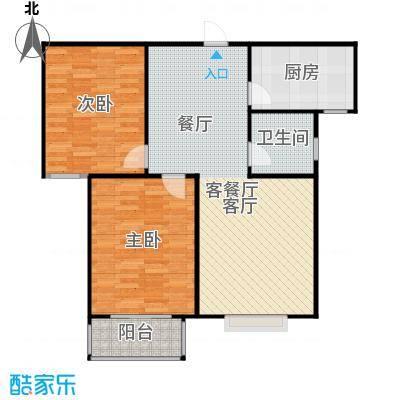香溪雅地84.26㎡A2户型两室两厅一卫户型2室2厅1卫