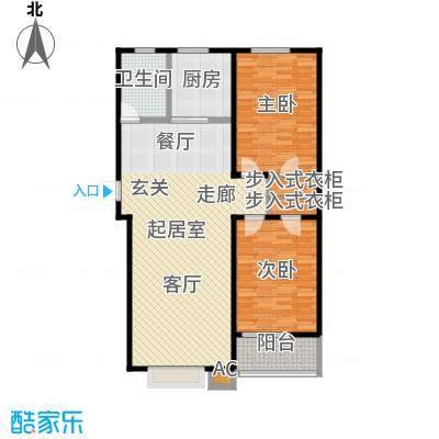 浩正�林湾107.30㎡两室两厅一卫户型2室2厅1卫