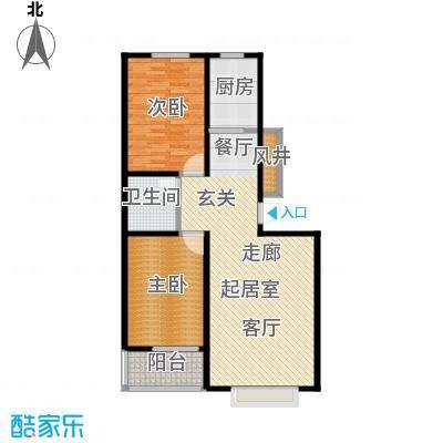 浩正�林湾108.21㎡两室两厅一卫户型2室2厅1卫