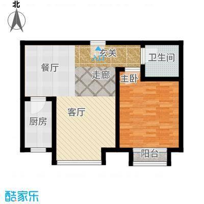 和发紫薇园65.39㎡户型D户型1室2厅1卫