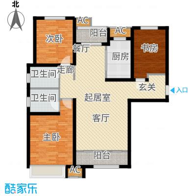 曦城花语120.40㎡高层1A户型3室2厅2卫QQ