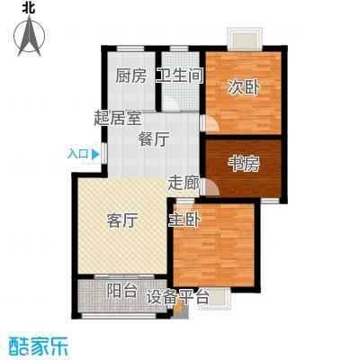 翡翠湾98.00㎡98平米三房户型3室1厅1卫