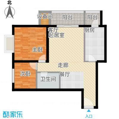百合小筑85.00㎡两室两厅一卫85㎡F户型2室2厅1卫