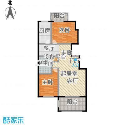 玖郡120.47㎡L户型两室两厅一卫户型2室2厅1卫