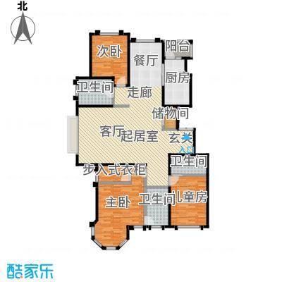 玖郡163.30㎡H户型三室两厅三卫户型3室2厅3卫