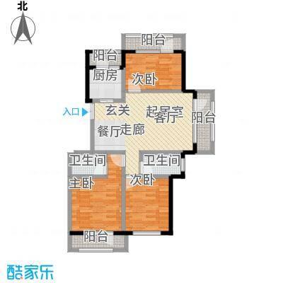 伸马托斯卡纳H户型 使用面积85.53平米户型3室2厅2卫