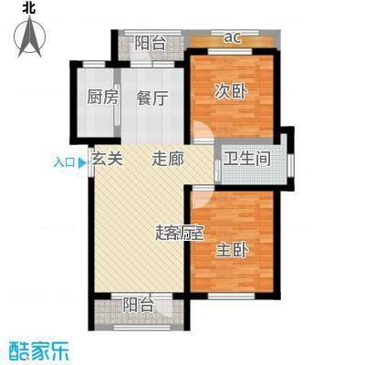 伸马托斯卡纳C户型 使用面积66.74平米户型2室2厅1卫