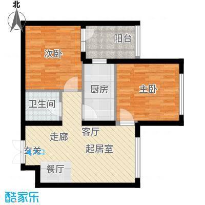 开美国际H户型面积79.71平米户型2室1厅1卫