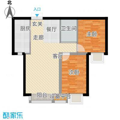 溪语原筑户型2室1卫1厨