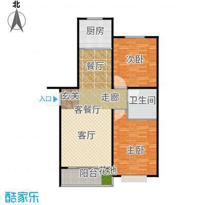 泰丰首府88.00㎡F2户型面积约88平户型2室2厅1卫
