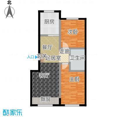 哈东城市公元75.00㎡C户型两室一厅一卫户型2室1厅1卫