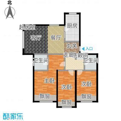 哈东城市公元121.00㎡H户型三室两卫一厅户型3室1厅2卫