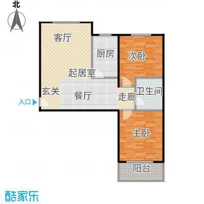 侯河铭品尚江南93.25㎡2、3号楼A1户型两室两厅一卫户型2室2厅1卫