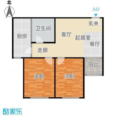 侯河铭品尚江南82.32㎡2、3号楼A2户型两室一厅一卫户型2室1厅1卫