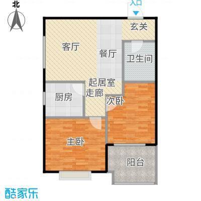 侯河铭品尚江南70.78㎡2、3号楼B2户型两室一厅一卫户型2室1厅1卫