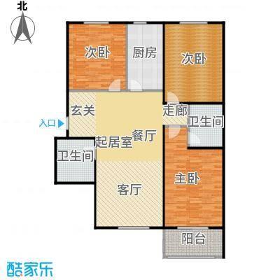侯河铭品尚江南128.30㎡2、3号楼B4户型三室两厅两卫户型3室2厅2卫