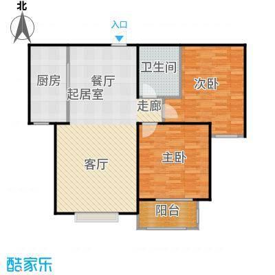 侯河铭品尚江南93.46㎡1、7、8号楼B户型两室两厅一卫户型2室2厅1卫