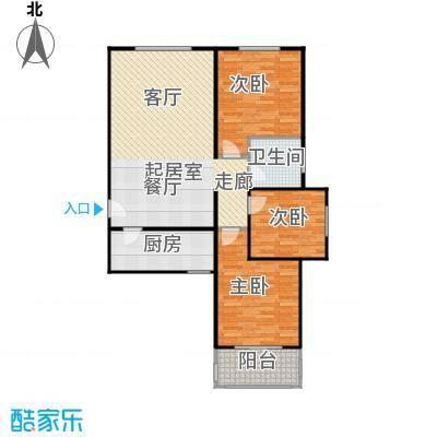 侯河铭品尚江南107.01㎡1、7、8号楼H户型三室两厅一卫户型3室2厅1卫