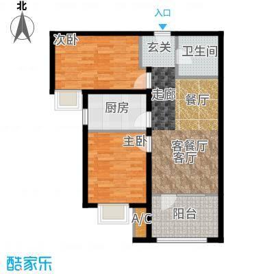中铁秦皇半岛87.00㎡二期户型图户型2室2厅1卫X