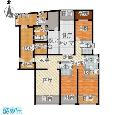 湖滨御景花园255.43㎡1# 3#楼标准层平面图B1-1户型3室2厅3卫