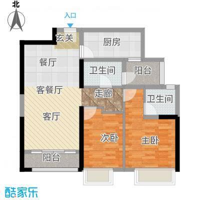 御东雅苑77.10㎡A3公寓户型2室1厅2卫1厨