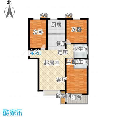 丽景华庭134.23㎡1-A户型三室两厅两卫户型3室2厅2卫