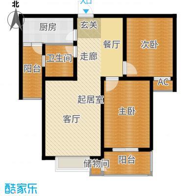 丽景华庭100.69㎡1-B户型两室两厅一卫户型2室2厅1卫