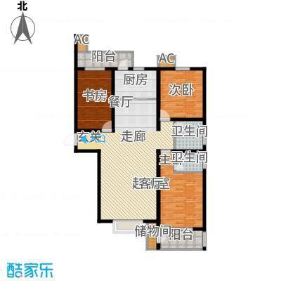 丽景华庭135.78㎡2-A户型三室两厅两卫户型3室2厅2卫